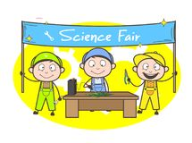 Cartoon Electrician Students Doing Experiments in Science Fair Stock Image