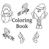 Cartoon elements in doodle style for coloring stock illustration