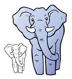 Cartoon Elephant. This is a cartoon illustration of an African elephant. A line art (no color) version of the illustration is included stock illustration