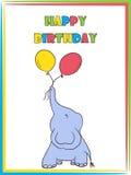 Cartoon elephant balloon birthday. Cute cartoon elephant with balloon birthday greeting card Royalty Free Stock Photo