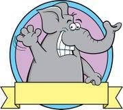 Cartoon elephant with a banner. Stock Photos