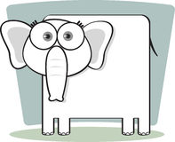 Cartoon Elephant in Black and White. Cartoon Elephant with big eye in Black and White Royalty Free Stock Photos