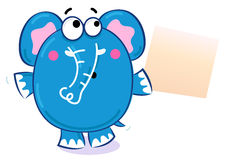 Cartoon elephant with blank banner Stock Photos