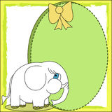 Cartoon elephant with blank label Stock Photography
