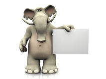 Cartoon elephant with blank sign. Royalty Free Stock Photography