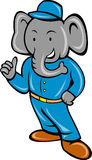 Cartoon elephant busboy bellboy Royalty Free Stock Images