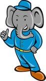 Cartoon elephant busboy bellboy Royalty Free Stock Images