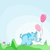 Cartoon elephant card. Cheerful blue elephant with pink balloons  card. Also available as a Vector in Adobe illustrator EPS 8 format. The different graphics are Royalty Free Stock Image