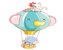 Cartoon elephant and the cat was air balloon ride Stock Images