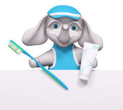 Cartoon elephant character behind poster holding toothbrush. And  toothpaste  hygiene concept 3d rendering Stock Photography