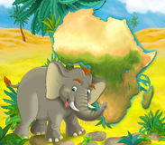Cartoon elephant with continent map Stock Image