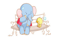 Cartoon elephant and a cute chick sitting on a chair Royalty Free Stock Image