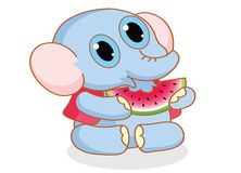 Cartoon elephant eating watermelon Royalty Free Stock Image