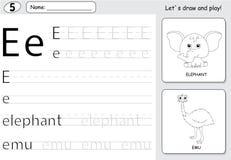 Cartoon elephant and emu. Alphabet tracing worksheet: writing A- Royalty Free Stock Photos