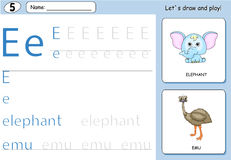 Cartoon elephant and emu. Alphabet tracing worksheet. Writing A-Z, coloring book and educational game for kids Stock Images