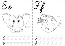 Cartoon elephant and fish. Alphabet tracing worksheet. Writing A-Z, coloring book and educational game for kids Royalty Free Stock Photos