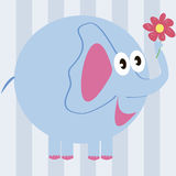 Cartoon elephant with a flower Stock Photos