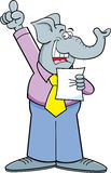 Cartoon elephant giving speech Royalty Free Stock Photo