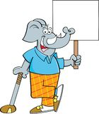 Cartoon elephant golfer leaning on a golf club while holding a sign. Cartoon illustration of an elephant golfer leaning on a golf club while holding a sign vector illustration