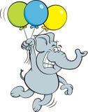 Cartoon elephant holding balloons. Royalty Free Stock Photo