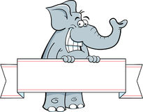 Cartoon elephant holding a banner Royalty Free Stock Image