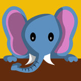 Cartoon elephant holding banner Royalty Free Stock Photo