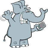 Cartoon elephant holding a cell phone. Stock Photography