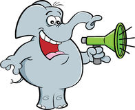 Cartoon elephant holding a megaphone. Royalty Free Stock Photo