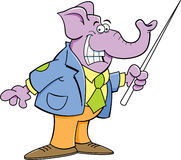 Cartoon elephant holding a pointer Stock Photo