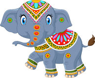 Cartoon elephant with indian classic traditional costume Royalty Free Stock Image