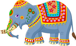Cartoon elephant with indian classic traditional costume Royalty Free Stock Images