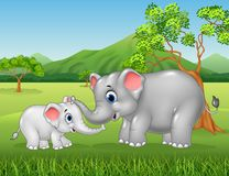 Cartoon elephant mother and calf bonding relationship in the jungle Stock Photos