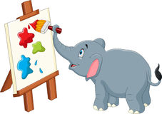 Cartoon elephant painting. Illustration of Cartoon elephant painting royalty free illustration