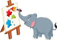 Cartoon elephant painting Stock Photography