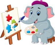 Cartoon elephant painting isolated on white background Stock Image