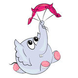 Cartoon elephant with parachute.sport animal Royalty Free Stock Photography