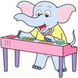 Cartoon elephant playing an electronic organ.  Royalty Free Stock Image