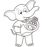 Cartoon elephant playing a french horn Royalty Free Stock Image
