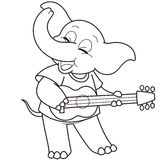 Cartoon elephant playing a guitar Royalty Free Stock Images