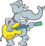 Cartoon elephant playing a guitar. Stock Photography
