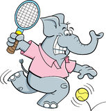 Cartoon elephant playing tennis Royalty Free Stock Photos