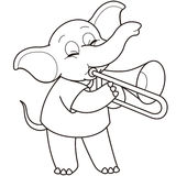 Cartoon elephant playing a trombone Royalty Free Stock Photo
