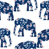 Cartoon  elephant seamless pattern vector. Cartoon bright decorative elephant seamless pattern and seamless pattern in swatch menu, vector Stock Image