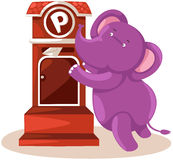 Cartoon elephant sending letter Royalty Free Stock Photos