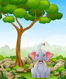Cartoon elephant sitting in the jungle Stock Photography