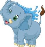Cartoon elephant spraying water vector illustration