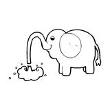 Cartoon elephant squirting water Royalty Free Stock Photography