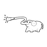 Cartoon elephant squirting water Royalty Free Stock Images
