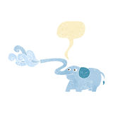 Cartoon elephant squirting water with speech bubble Stock Photos