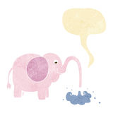 Cartoon elephant squirting water with speech bubble Royalty Free Stock Photo
